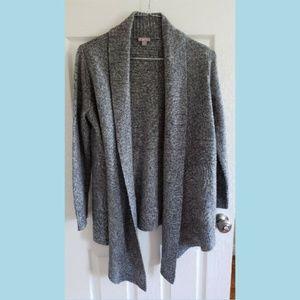 J JILL Wool Blend Gray Open Drape Front Cardigan S